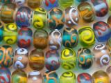 Multi-Color & Swirls Lampwork Glass Beads 13mm (LW1180)
