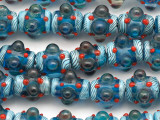 Turquoise Blue 'Eye' Lampwork Glass Beads 16mm (LW1203)