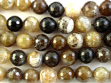 Brown Agate Faceted Round Gemstone Beads 12mm (GS1184)