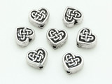 Silver Tone Celtic Heart Bead 9mm (ST42)
