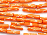 Orange & White Tube Carved Bone Beads 20-24mm (B1070)