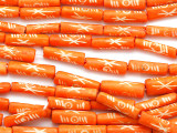 Orange & White Tube Carved Bone Beads 22-24mm (B1047)