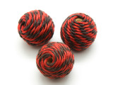 Cotton Wrapped Bead - Red & Black 25mm (CT109)