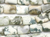 Olive Agate Rectangular Tabular Gemstone Beads 18mm (GS1287)