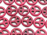 Magenta Howlite Peace Sign Gemstone Beads 20mm (GS1334)