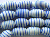 White & Blue Stripes Ellipsoid Glass Beads 18mm (JV233)