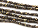 Black w/Stripes Glass Beads 4-6mm (JV301)