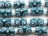 Teal & White Swirl Glass Beads 20mm (JV214)