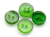 Recycled Glass Buttons, Green (set of 4) 18mm - Indonesia (AP473)
