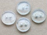 Recycled Glass Buttons, Clear (set of 4) 18mm - Indonesia (AP476)
