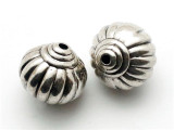 Fluted, Silver Metalized Plastic Bead 17mm (MP14)