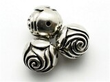 Rosebud, Silver Metalized Plastic Bead 18mm (MP25)