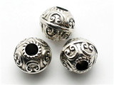 Ornate, Silver Metalized Plastic Bead 17mm (MP29)