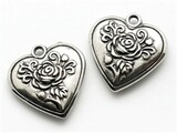 Heart, Silver Metalized Plastic Charm - Pendant 30mm (MP55)