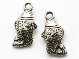 Fish, Silver Metalized Plastic Bead - Charm 28mm (MP56)