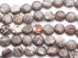 Cappuccino Jasper Round Tabular Gemstone Beads 14mm (GS1799)