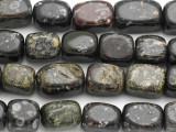 Black Rainforest Jasper (Rhyolite) Block Gemstone Beads 15-18mm (GS1836)