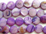 Purple Round Tabular Shell Beads 15mm (SH179)
