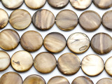 Golden Brown Round Tabular Shell Beads 20mm (SH181)