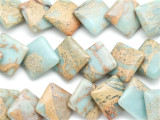 Aqua Terra Jasper Diamond Tabular Gemstone Beads 24mm (GS1931)