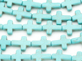 Turquoise Howlite Cross Gemstone Beads 16mm (GS1884)