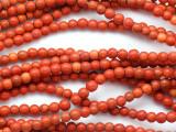 Orange Howlite Round Gemstone Beads 3-4mm (GS1891)