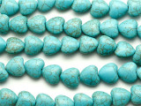Turquoise Magnesite Heart Gemstone Beads 15mm (GS1907)