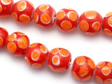 Red w/Orange Eyes Glass Beads 17-18mm (JV445)