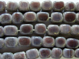 Purple Mauve Block Glass Beads 7-9mm (JV498)