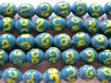 Turquoise w/Yellow Swirl Glass Beads 9-10mm (JV471)