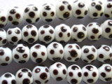 White w/Dark Brown Polka Dots Round Glass Beads 11-12mm (JV421)