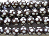 Brown w/Polka Dots Round Glass Beads 11-12mm (JV424)