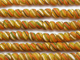 Yellow w/Stripes Glass Beads 5-7mm (JV476)