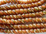 Orange w/Stripes Glass Beads 5-7mm (JV477)