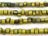 Yellow w/Black Center Glass Beads 5-7mm (JV479)