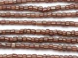 Brown w/White Stripes Glass Beads 5-7mm (JV542)