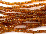 "Transparent Orange Glass Beads - 44"" strand (JV9007)"