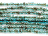 "Transparent Antiqued Aqua Glass Beads 3mm - 44"" strand (JV9017)"