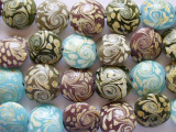 Olive, Purple & Turquoise Lampwork Glass Beads 20mm (LW1283)