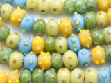 Yellow, Blue & Lime Green Lampwork Glass Beads 12-13mm (LW1346)