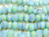 Blue w/Lime Green & Yellow Lampwork Glass Beads (LW1352)