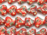 Red & Green Heart Lampwork Glass Beads 18mm (LW1313)