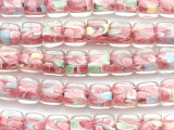 Clear & Pink Cube Lampwork Glass Beads 10mm (LW1317)