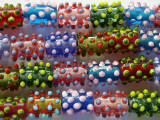 Multicolored Cylinder w/Polka Dots Lampwork Glass Beads 12mm (LW1363)