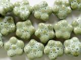 Flower 16-17mm - Glazed Sage Porcelain Beads (PO350)