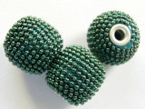 Metallic Teal Ceramic & Metal Bead 18mm (CM38)