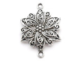 Flower Connector - Pewter Pendant 40mm (PW1002)