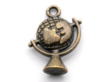 Brass Globe - Pewter Pendant 20mm (PW1086)