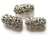 Pewter Bead - Floral Cutout Oval 20mm (PB141)