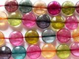 Multi-Color Quartz Round Tabular Gemstone Beads 14mm (GS2321)
